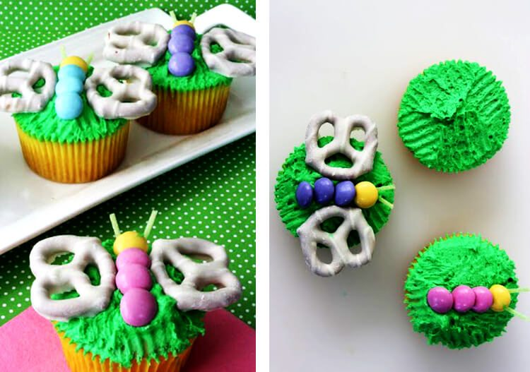 cupcakes with pretzel butterfly decoration