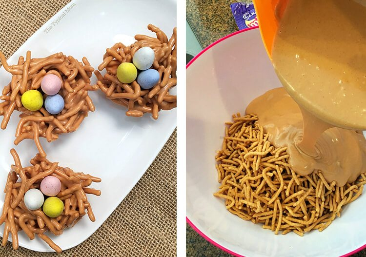 butterscotch-coated chow mein noodles with candy inside