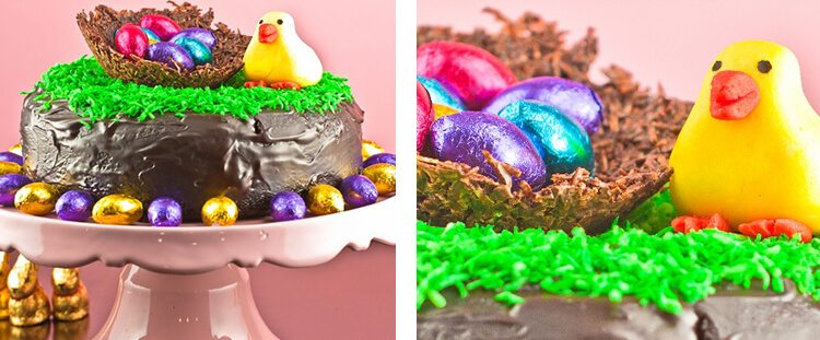 chocolate cake with Easter decorations