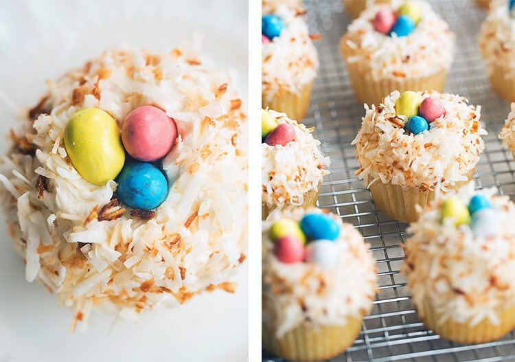 coconut cupcakes with toasted coconut and Easter egg candy
