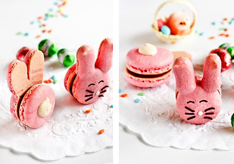macarons shaped as bunnies