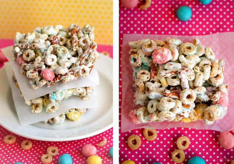 mixed cereal and candy-coated pretzel bars