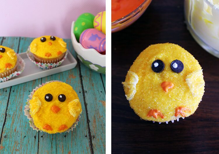 yellow cupcakes decorated as chicks
