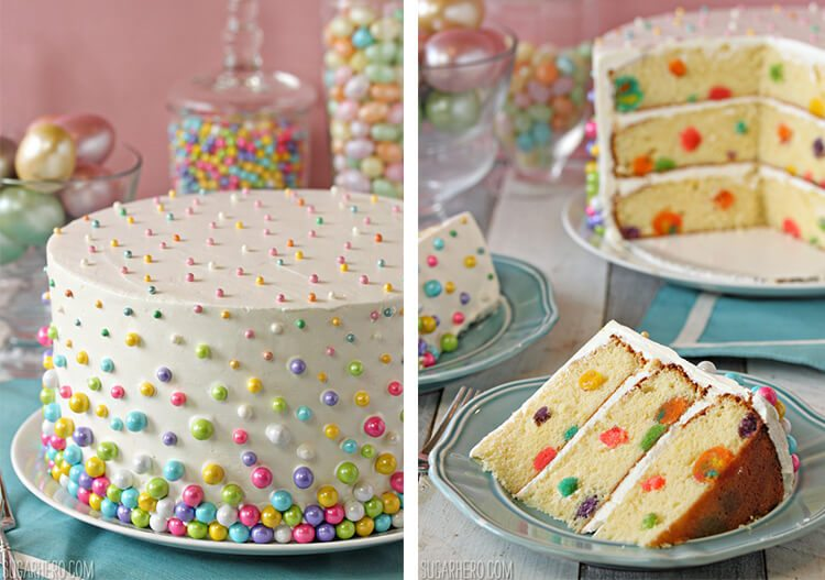 cake with sugar pearl decorations