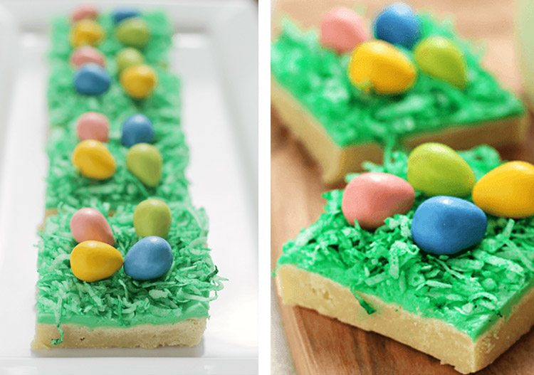 sugar cookie bars with Easter candy