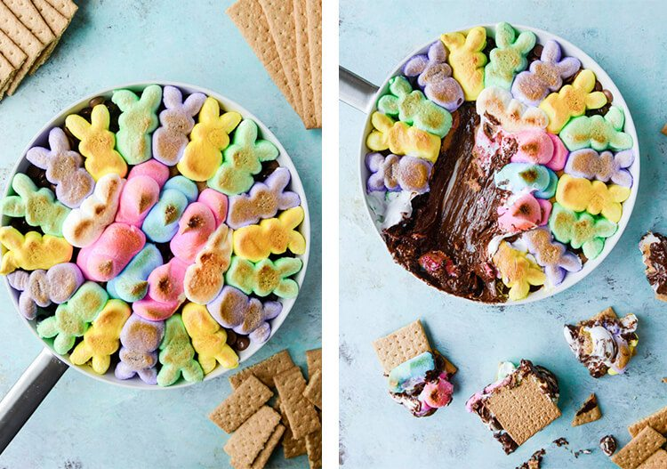 s'mores made with Peeps, chocolate, and peanut butter