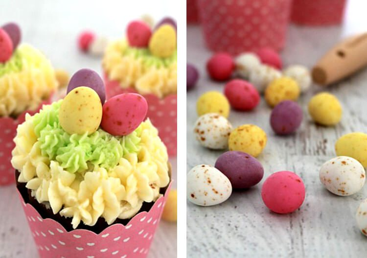 chocolate cupcakes with speckled Easter egg candies