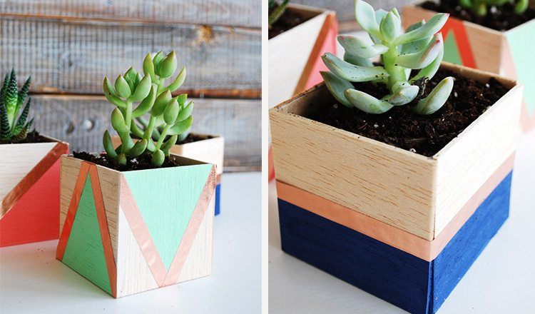 planters painted and made of balsa wood