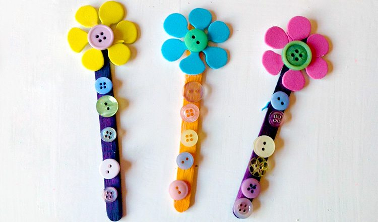 bookmarks with flower buttons