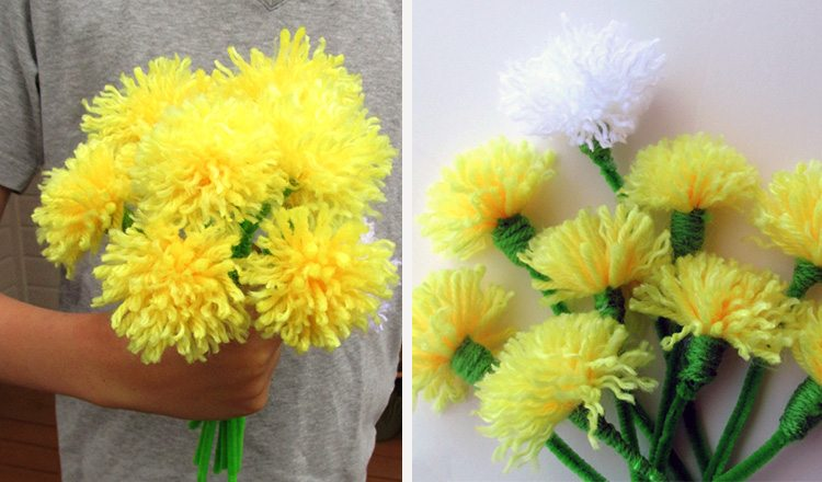tassel flowers made with a fork