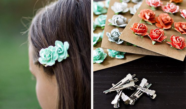 hair clips decorated with craft flowers