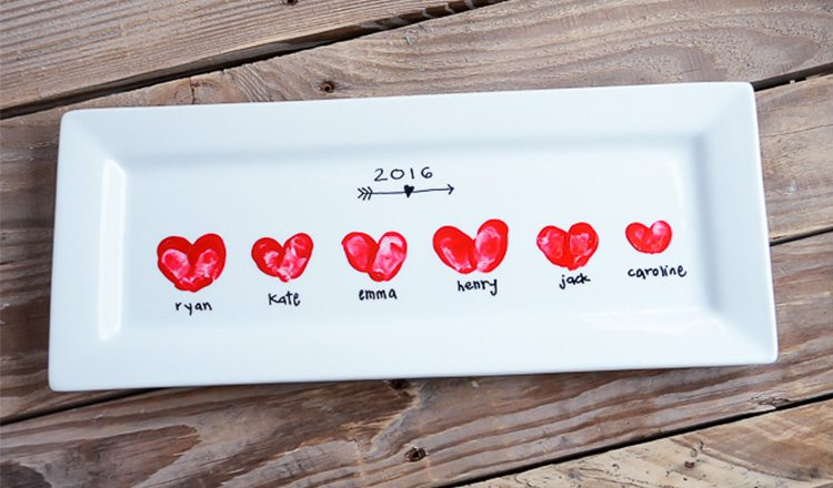 platter decorated with heart thumbprints in paint