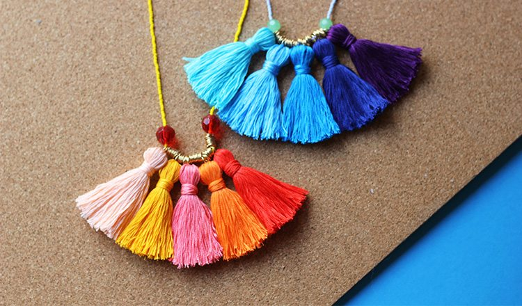 necklace made with colorful tassels