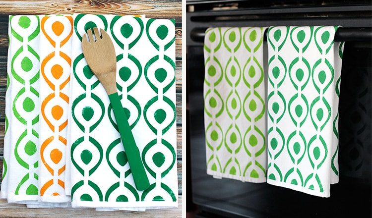 tea towels painted with stencil designs
